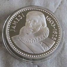 James I 1566 - 1625 32 mm caracteriza medalla de plata prueba