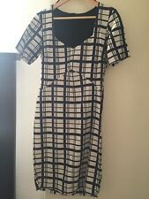 ZARA navy blue cream check graphic White Work shift fitted tailored dress M 10