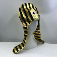 Vintage Gold Stripes Egypt Queen Pharaoh Hat Headpiece Costume Dress Up Prop