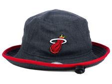 MIAMI HEAT NEW ERA NBA HWC GRAPHITE HEATHER RED TRIM BUCKET HAT CAP SIZE LARGE
