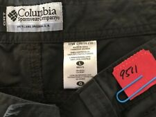 "Columbia GRT Omni-Dry men's charcoal black cargo shorts size L x 7"" zip fly flat"