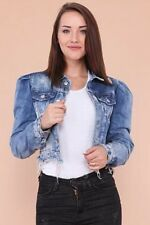 Military Womens Fitted Denim Jacket Ruched Jean Jackets Cropped Waistcoat