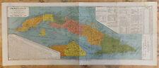 Carte de l'Ile de Cuba El mapa Moderno de la Isl de Cuba Lithographie 1896