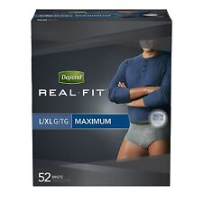 Depend Real Fit Incontinence Briefs for Men, Maximum Absorbency, L/XL, Grey, Pac