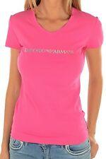 Bnwt Femme EMPORIO ARMANI Framboise/rose graphique Cristaux Logo Tee. Tailles: XS, S