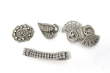 x4 Antique Art Deco White Metal Paste Cluster Brooches Bracelet 77g #25761