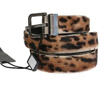NEW $650 DOLCE & GABBANA Belt Goat Hair Cayman Leather Leopard Print 110cm /44in