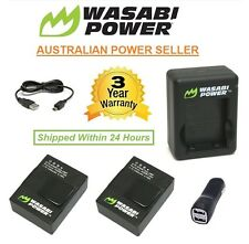 Wasabi Power Battery 1280mAh x 2 + DUAL CAR USB CHARGER GoPro HERO3 3+ Go Pro