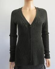 Derek Lam Military Green Wool Chunky Ribbed LS Cardigan/Sweater, Size S
