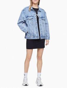 Calvin Klein Light Wash Oversized Trucker Jacket Blue Size XL