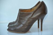 Zara Womens Collection 36 / 6 M Brown Leather Open Toe Bootie Heels Shoes NICE!!