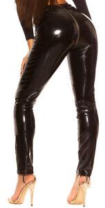 Wetlook Hose mit Reißverschluß Gr. S-XL, zip clubwear Damenhose Leggings