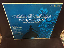 "Paul Weston Melodies for Moonlight 10"" vinyl LP Columbia MONO CL 6191"