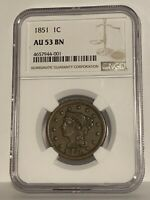 1851 United States Large Cent 1c Coin NGC Graded AU 53 BN-