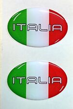 2x 3D Oval Domed Italiy Flag Stickers Italia Tricolore for Motorcycle Helmet Car