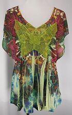 ONE WORLD Size L Sublimation Butterfly Tunic Top Lace Studded Short Sleeve
