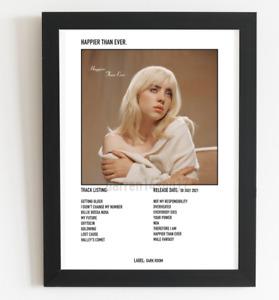 Billie Eilish Poster Happier Than Ever Album Art Polaroid Style Pop Poster A3 A4