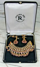 Indian Raj Jewelery Costume Necklace & Earing Set In Display Box