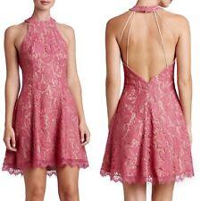 Sz XL Dress The Population Magenta Pink Gold Lace Low Back Dress $198 HPM