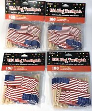 New listing Lot Of 400 American Flag Toothpicks July 4th Patriotic Appetizer Cupcake Picks