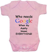 ? quién necesita Google tía bebé crezca/Enterito/pañalero/T-Shirt NB-24m Divertido Regalo
