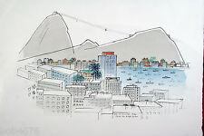 Rare SACHIKO KOSHIKOKU Signed Original Monoprint PAO DE ACUCAR 1986 Rio Brazil
