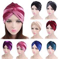 Women Indian Turban Hat Head Wrap Stretchable Chemo Pleated Hijab Cap Fashion LE