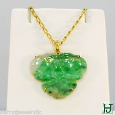 Brand New Carved Green Jade Pendant with Butterfly design in 18k Yellow Gold