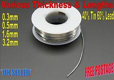 Solder Fluxed 40/60 General DIY By The Feet 0.3mm, 0.5mm, 1.6mm, 3.2mm