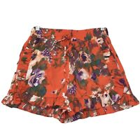 "H & M NWT Orange Abstract Ruffled Shorts Womens Sz 6 Elastic Waist Pockets 3"" L"