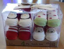 Chick Pea Unisex Infant Christmas Socks Set of 4 0-12 Months Penguin/Reindeer