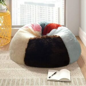 Home multicolour Colorful Bean Bag Sofa Without Beans (3XL) faux suede