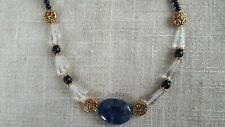 """18 1/2"""" Sodalite, Blue Goldstone and Crystal necklace"""