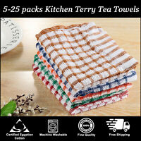 Kitchen Terry Tea Towels Set 100% Cotton Dish Cloths Cleaning Drying Pack 5 - 25