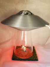 UFO LAMP Alien Cow Abduction Outer Space Silver Saucer Light Farm Country Scene