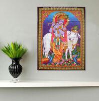 hindu God krishna cow flute sequin wall hanging deity tapestry decor indian art