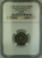 (1100-1200) France Saint Marital Silver Denier Coin Roberts-4912 NGC VF-30 AKR