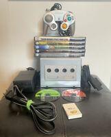Nintendo GameCube DOL-001 PLATINUM SILVER Console + 8 Games + Controller Bundle