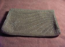 Vintage Faux Pearl Bead Champagne Satin Clutch Evening Bag Purse Made Japan