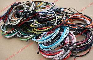 Unisex Mixed Leather & Cotton Cord Handmade Bracelet Wristband Surfer
