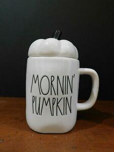 "NEW Rae Dunn by Magenta Pottery ""MORNIN' PUMPKIN"" Mug/Lid Fall Autumn Free Ship"
