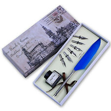 Vintage Blue Quill Dip Pen Goose Feather Pen with Black Ink + 6 Nibs Set Gift