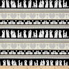 I Do Wedding Decorative Stripe Black Quilting T. 100% cotton fabric by the yard