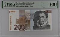 Slovenia 200 Tolarjev 2004 P 15 d* Replacement Gem UNC PMG 66 EPQ