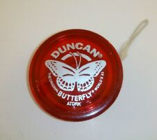 Red Duncan Original Butterfly Yo-Yo Plastic Translucent Bright Color Toy Vintage