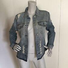Rails Jean Distressed Denim Shirt Jacket with Studs Size S