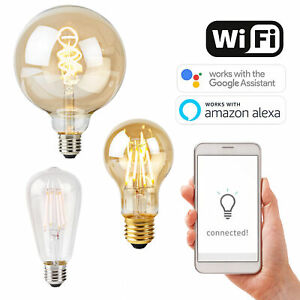 Smart LED E27 Wireless WiFi App Light BULB Retro Filament For Alexa Google Home