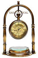 Nautical Maritime Brass Table/Desk Clock With Brass Compass~Antique Pocket Watch