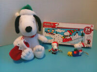 "Plush 9"" Hallmark Christmas Snoopy w/New Puzzle + Snoopy Keychain & Ornament"