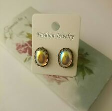 Gorgeous Victorian style Czech rosealine ab glass cocktail stud earrings
